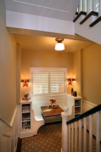 Kids  by Visbeen Associates, Inc.Reading nook, replace table w cushion... Nice little nook for kids to play games and do homework at.... Reading nook on landing -- built-in... Nook on landing and newel post!... way to make a nook landing useable! Love it!... great nook... kids nook... Good idea for children's nook... Adorable playroom nook... kid nook... Cute and functional nook... Nice nook... Cozy nook... Game nook... Toy story nook... Stairwell study