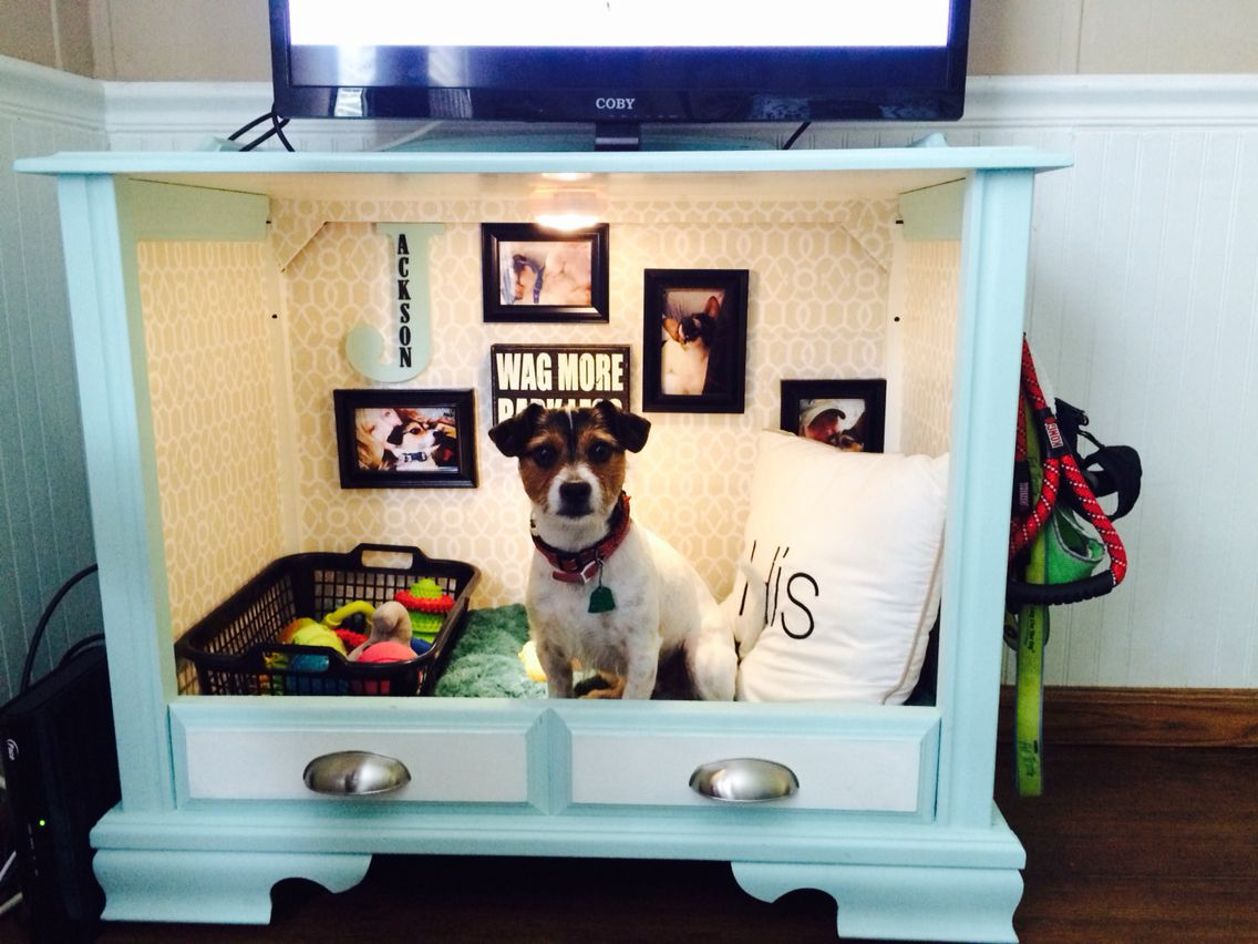 b892ddfb04b2 Dog Bed from old TV Console | Animal Bed Ideas | Diy dog bed, Dog ...