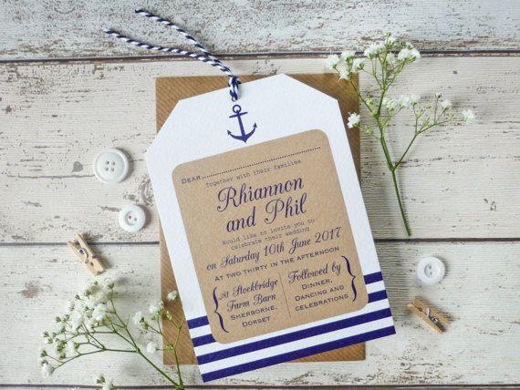 Náutica etiqueta de invitación de la boda, boda de playa - boda rústico - hecho a mano