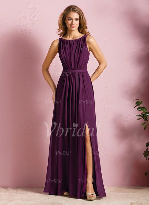 bridesmaid dresses a line princess scoop neck floor length chiffon bridesmaid dress. Black Bedroom Furniture Sets. Home Design Ideas