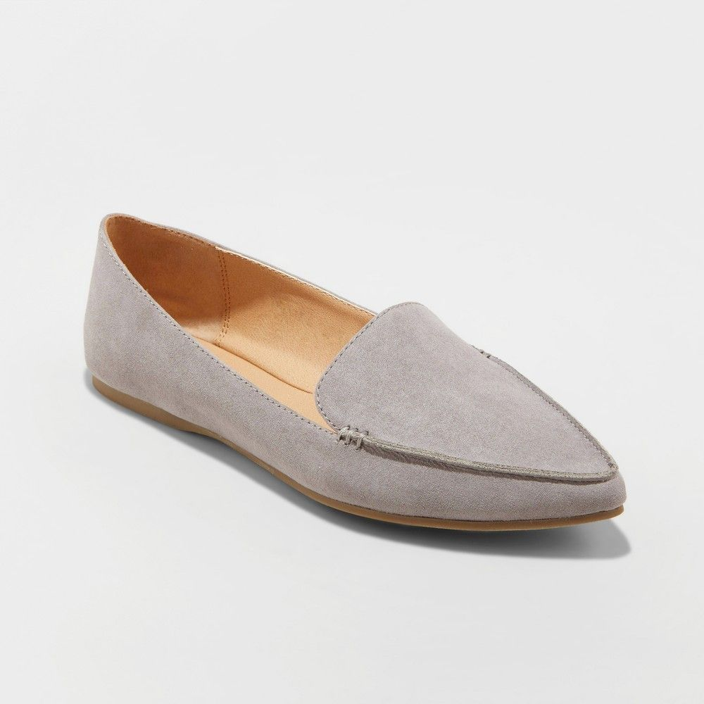 2451cf1bdc8f Women s Micah Wide Width Pointed Toe Closed Loafers - A New Day Gray 6.5 W