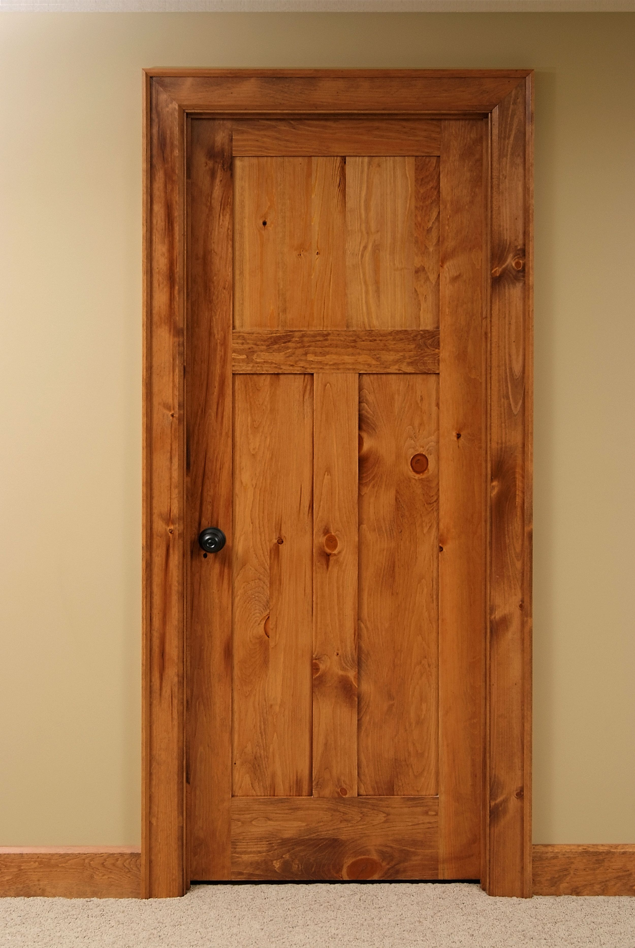 High Quality Shaker Style 3 Panel Knotty Pine Interior Door.