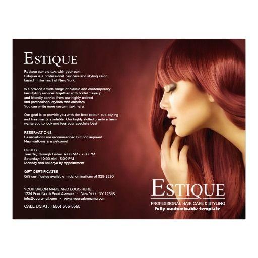 Hair Salon Stylist Service Menu Brochure Template Brochure