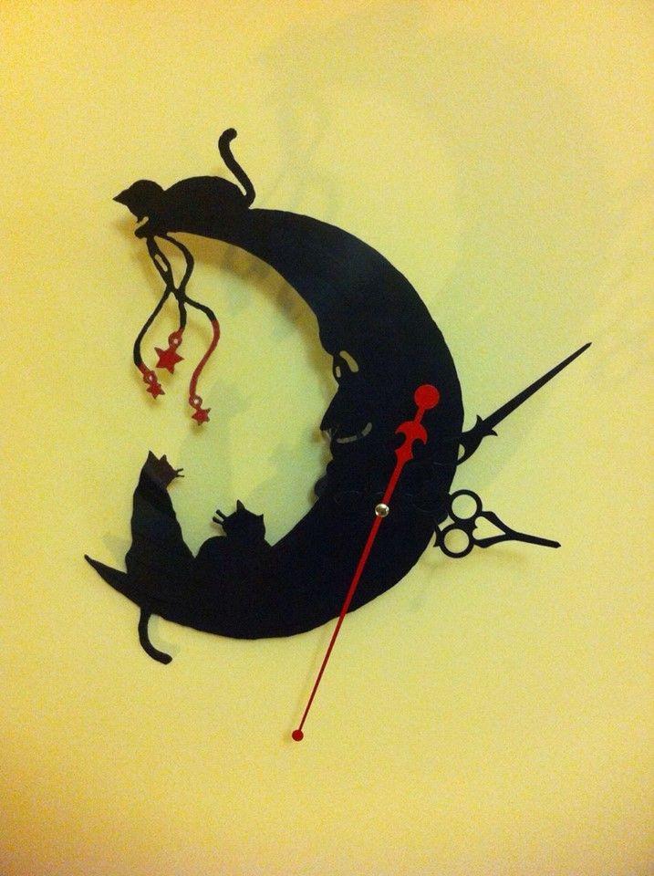 Gatitos reloj de pared en disco de vinilo hecho a mano - Relojes de vinilo ...
