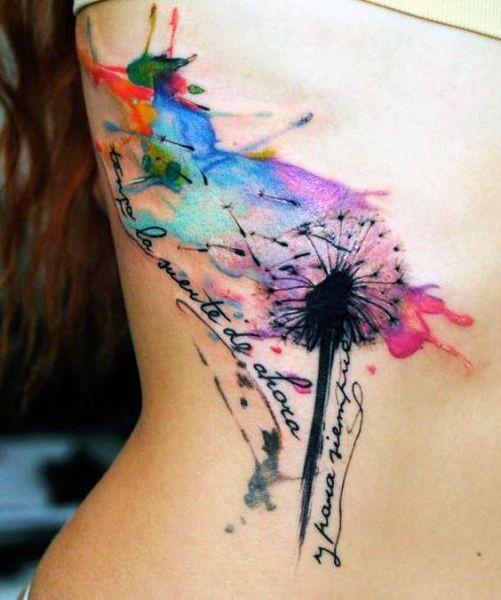 Tatuaże Damskie Kolorowy Dmuchawiec Tattoos Pinterest Tattoos