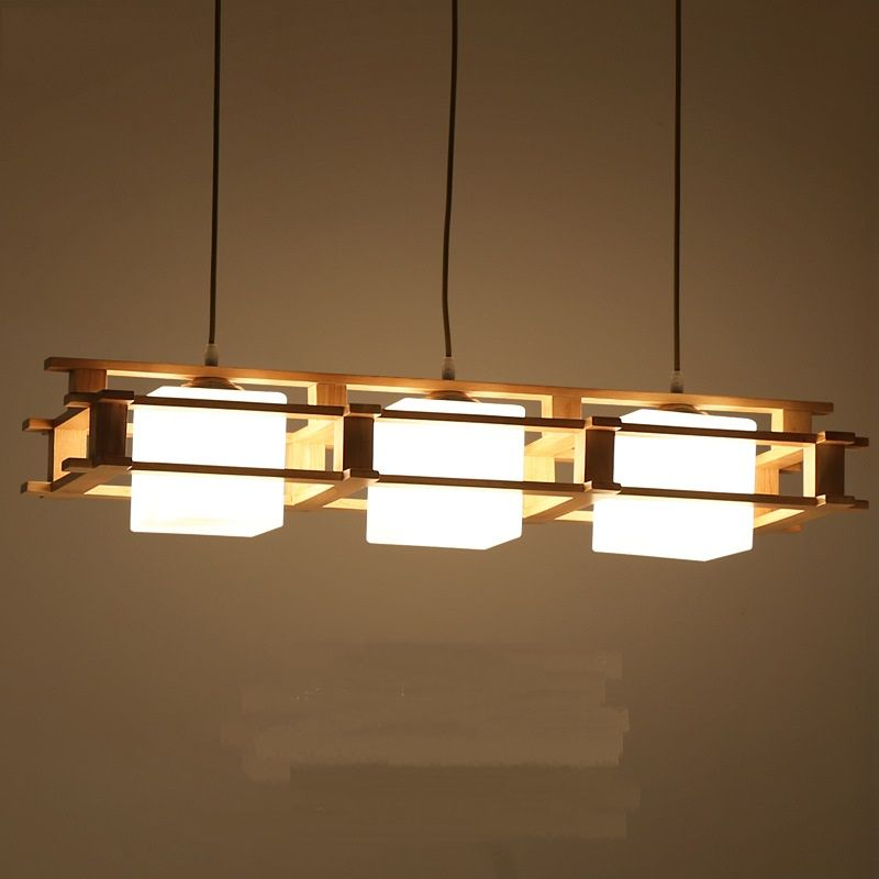 Dinner Living Room Pendant Lamp Solid Wooden Wood Japanese Lights Creative Decoration Dining