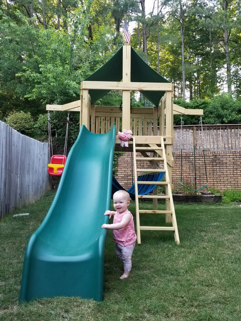 Pathfinder Swing Set Space Saver Edition With 10 Ft Wave Slide