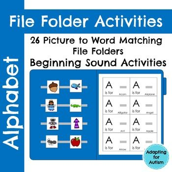 26 alphabet file folder activities to practice letter identification and beginning sounds. This resource is a picture to word matching task. Use these for independent work tasks, group lessons, and 1:1 instruction. While these were created for a special education class, the multiple levels and repetition make them ideal for pre-k, kindergarten and ELLs.