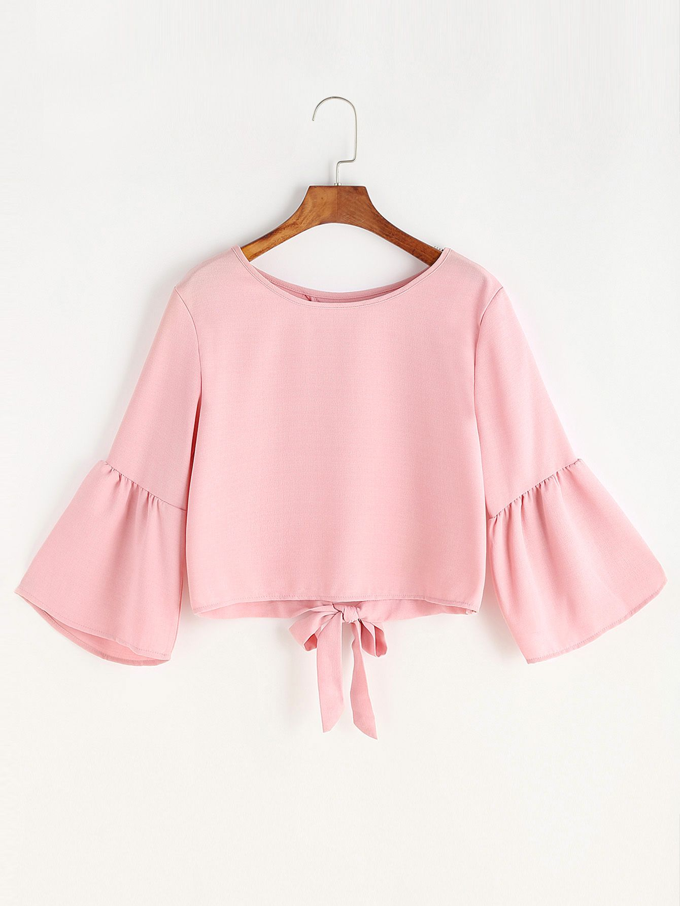 Shop Fluted Sleeve Bow Tie Overlap Back Blouse Online Shein Offers Fluted Sleeve Bow Tie Overlap Back Blouse More To F Ropa De Moda Moda De Ropa Ropa Tumblr