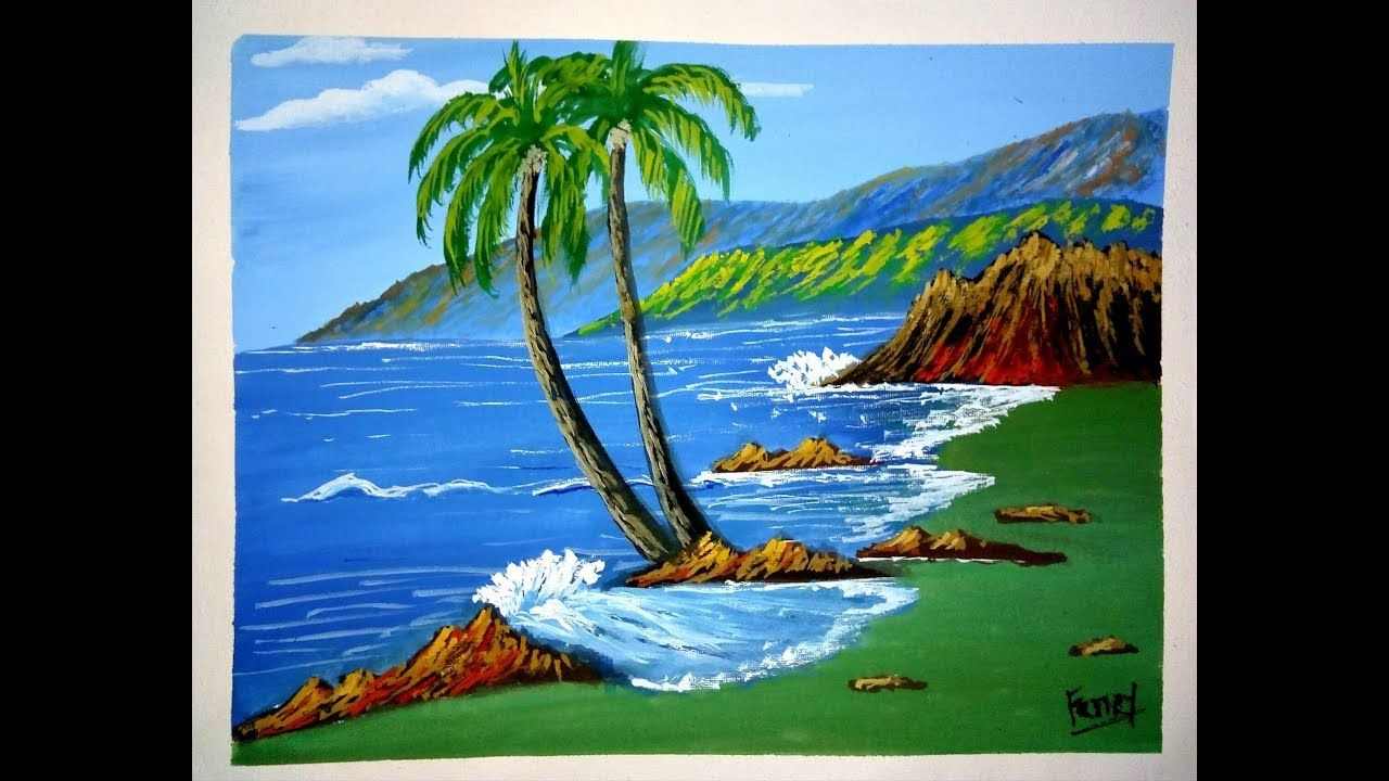 Sea Beach Painting With Mountain View Mountain Painting With Poster Col Landscape Paintings Mountain Paintings Beach Painting