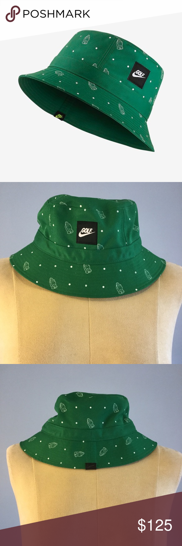 c086241de59 Rare Nike Golf M L Green Praying Hands Bucket Hat Rare Nike Golf Clapping  Praying