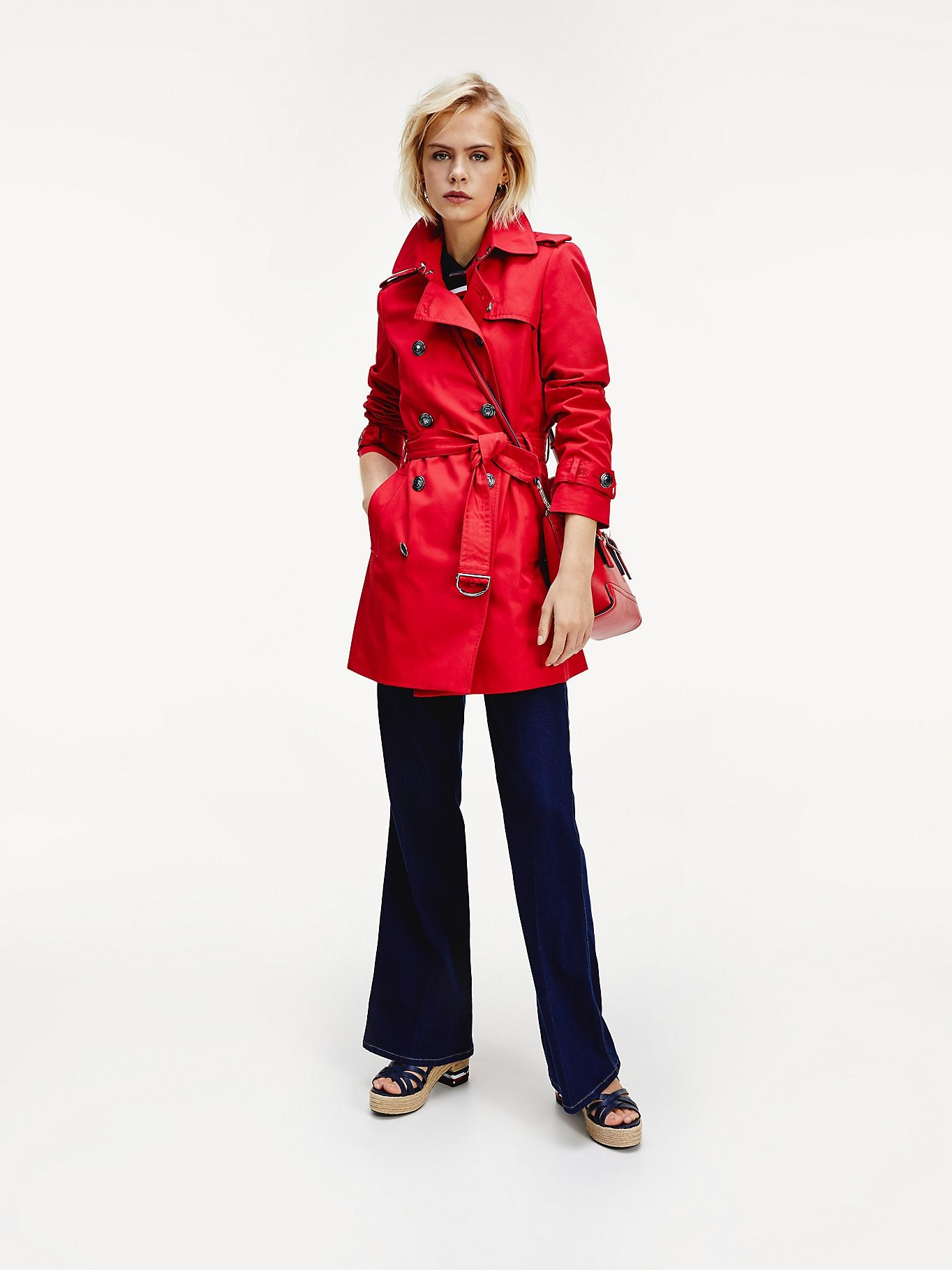 Double Breasted Utility Trench Coat Red Tommy Hilfiger Outerwear Jackets Women S Coats Jackets Tommy Hilfiger [ 1819 x 1364 Pixel ]