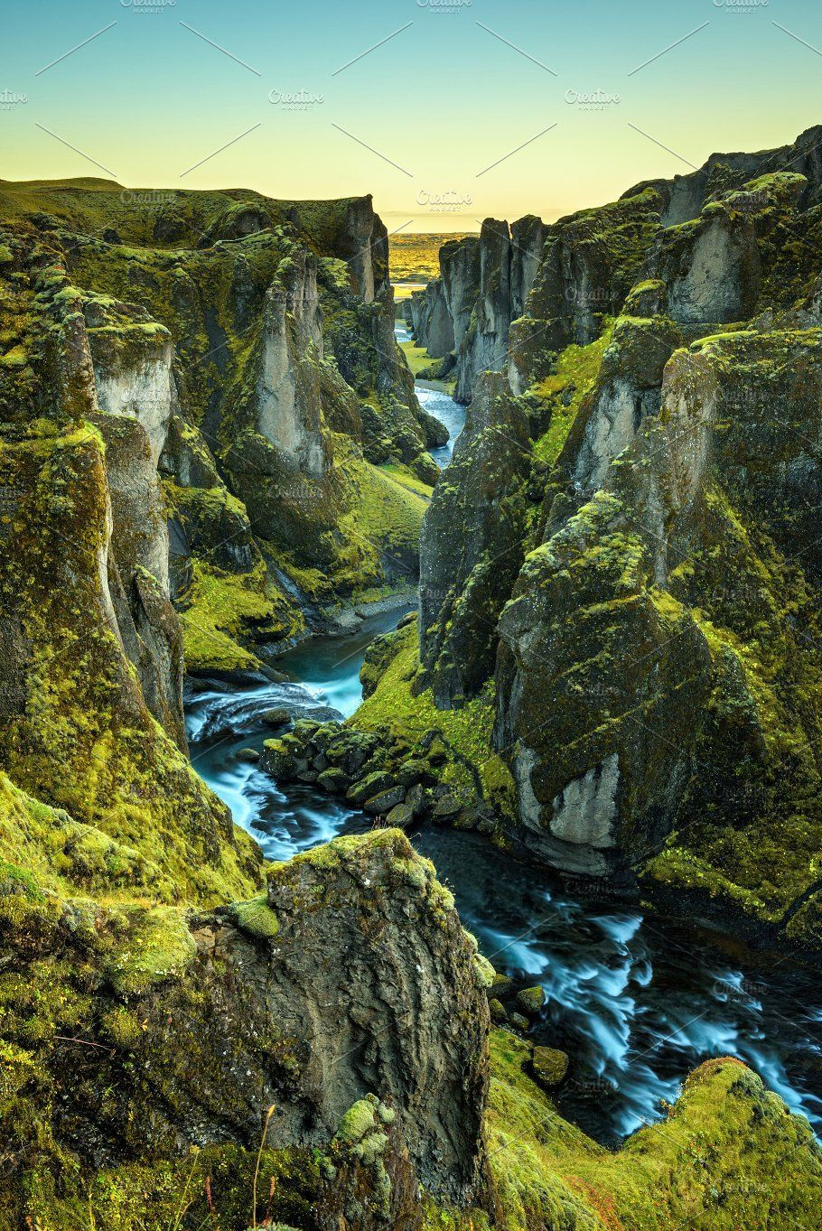 Fjadrargljufur canyon and river in south east Iceland by Nick Fox  on Creative M... -  Fjadrargljufur canyon and river in south east Iceland by Nick Fox  on Creative Market Deep Fjadrarg - #