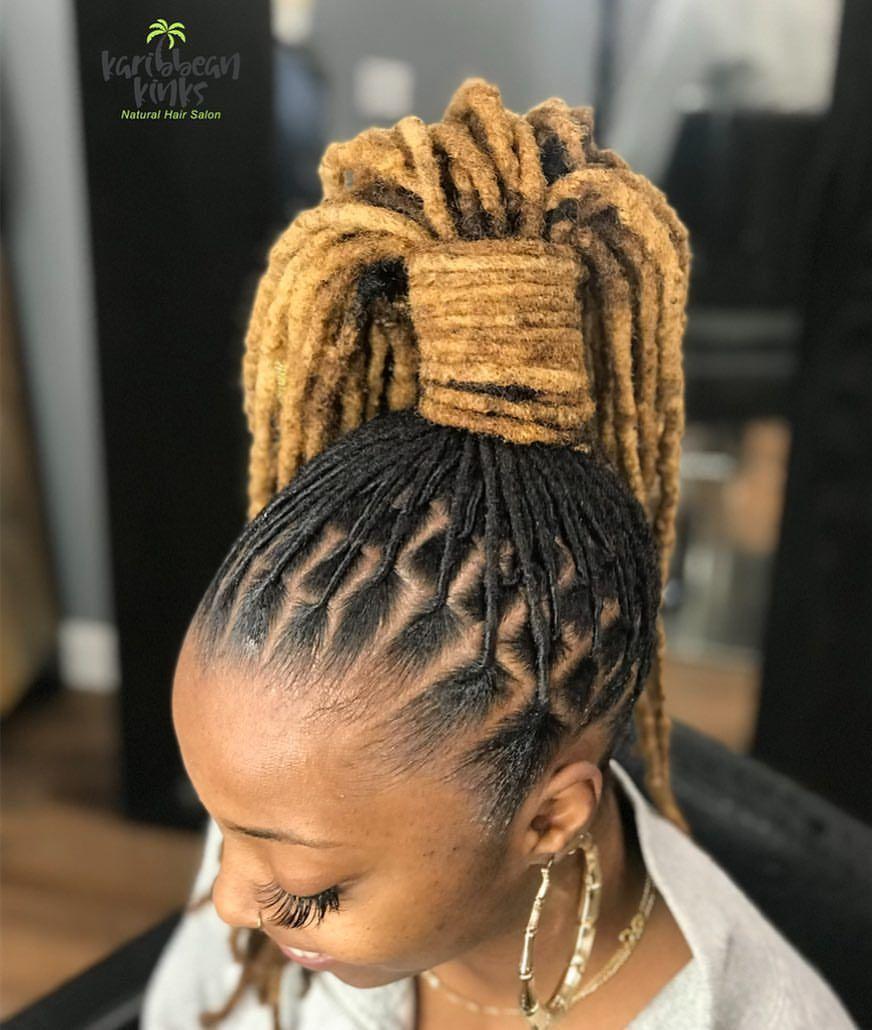 Loc Ponytail Done At Karibbeankinks Natural Hair Salon Location 557 Ritchie Rd Capi Natural Hair Styles Natural Hair Salons Dreadlock Hairstyles Black