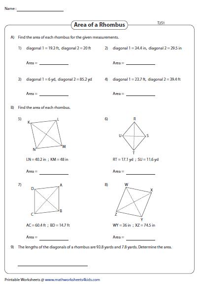 Area of a Rhombus | Decimals | Rhombus Worksheets | Worksheets