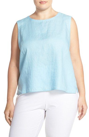 Eileen Fisher Organic Linen Round Neck Shell (Plus Size)