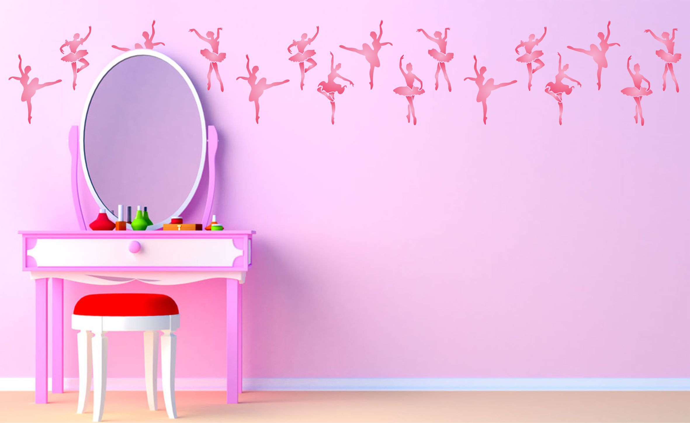 Beautiful And Easy DIY Wall Art: Ballerina Stencil For A Little Girlu0027s Room.  Http