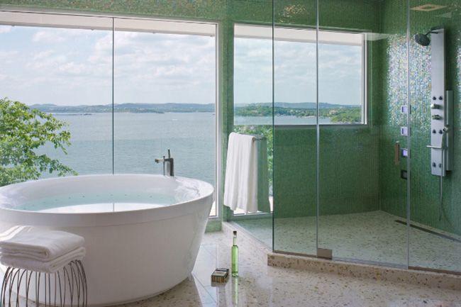 The ultimate bathroom! Hakatai tiles in Luster Willow; Winn Wittman