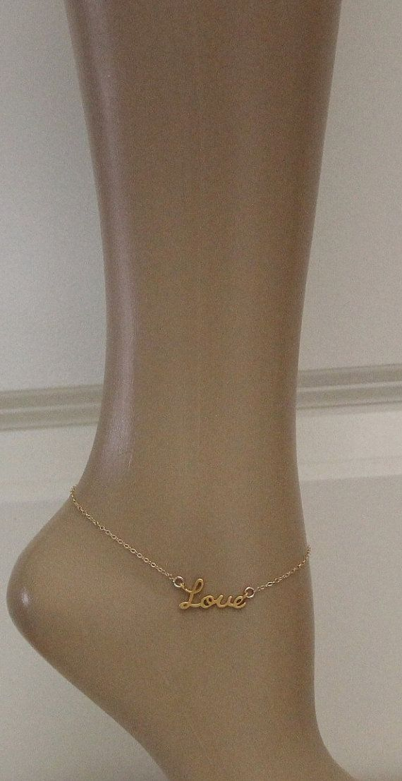 Gold Love Anklet 2 edition by beadxs on Etsy, $23.00