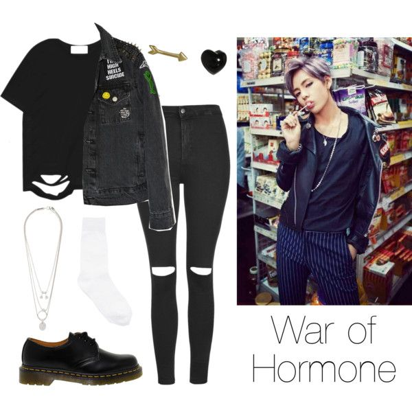 BTS V: War of Hormone by btsoutfits on Polyvore featuring mode, Chicnova Fashion, Topshop, Y's by Yohji Yamamoto, Dr. Martens, Maison Margiela and Finn