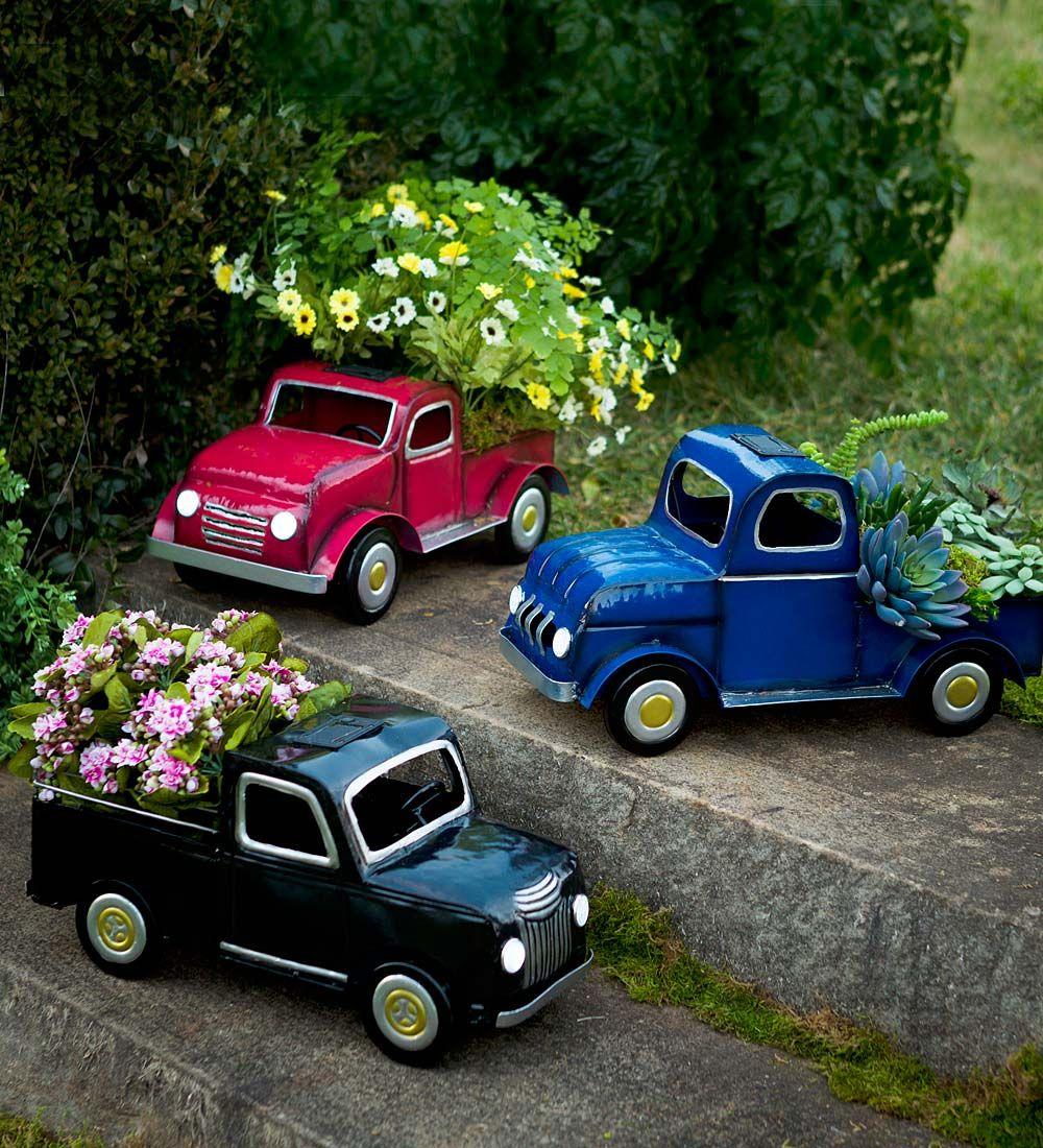Small Car Planters : Solar truck planter decorative garden accents small