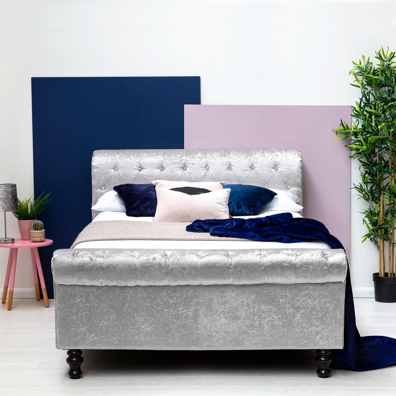Best St James Silver Crushed Velvet Sleigh Ottoman Storage Bed 640 x 480