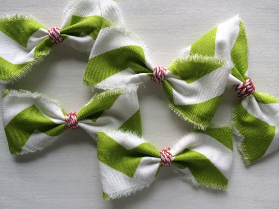 Green Chevron Fabric Bows with Red Centers by redesignaccessories