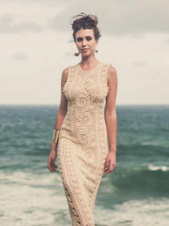 Vestido de Novia de ganchillo hecho a mano LUNA por IsaCatepillan ...