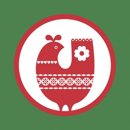 """Encircled Red Bird - Rob+Bob Studio - Christmas Card. Heather green, fire engine red, and bright white make the holidays stand out clearer than ever on this traditional card. The happy bird features sweet designs and carries warm wishes to all who receive it. 4.75"""" x 4.75"""" Folded Card. Price: $2.89"""