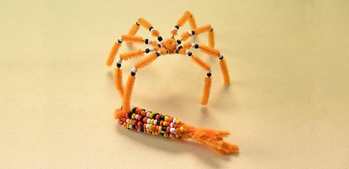 Hoe maak je een leuke Oranje Chenille Stem Spider Craft voor Home Decoration