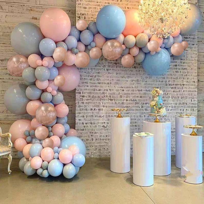 Pastel Gender Reveal Balloon Garland Kit Rose Gold Blue And Etsy Gender Reveal Balloons Balloon Decorations Party Gender Reveal Decorations