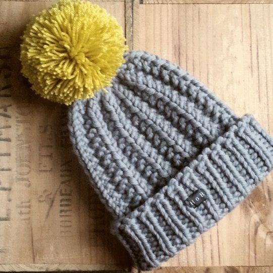 Mens Mustard And Grey Merino Wool Hobo Lofty Handmade Bobble Hat