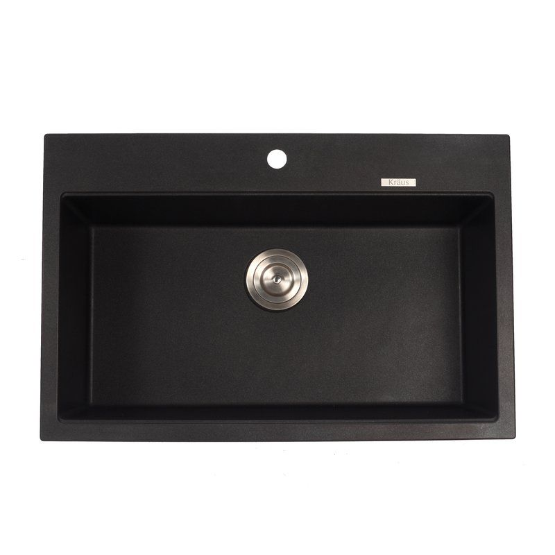"$269 Buy the Kraus KGD-412B Black Onyx Direct. Shop for the Kraus KGD-412B Black Onyx 31"" Single Basin Dual Mount (Drop In or Undermount) Granite Composite Kitchen Sink and save."