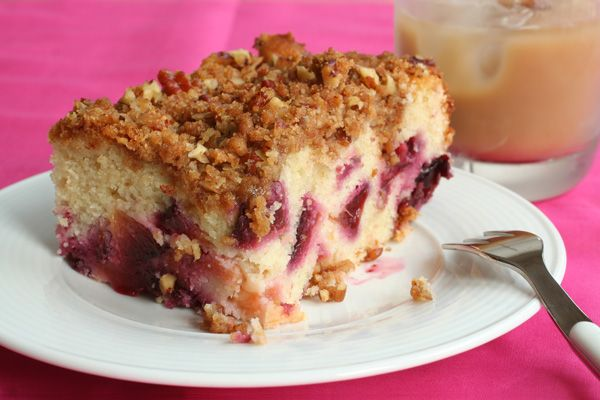 Plum Buckle with Pecan Topping