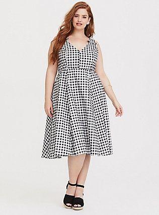 Plus Size Retro Chic Gingham Skater Dress, HALF INCH GINGHAM ...