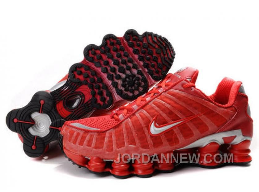 Discount Authentic Mens Nike Shox TL Shoes Gym Red/Silver