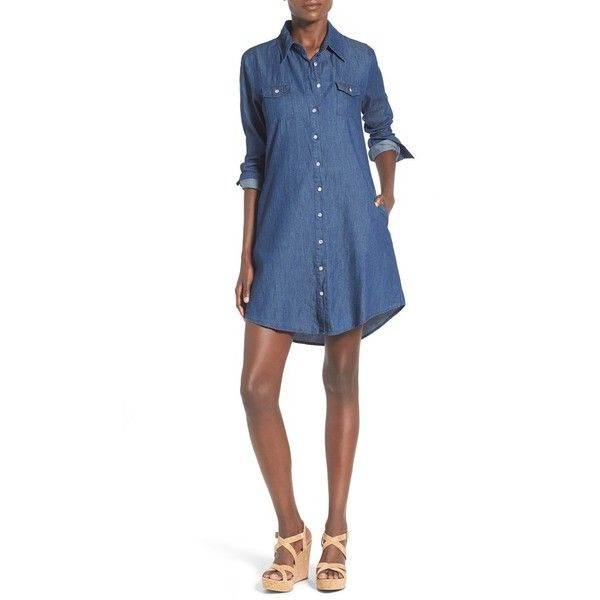 Mimi Chica Chambray Shirtdress (89 BGN) ❤ liked on Polyvore featuring dresses, denim, long sleeve dress, long white shirt dress, button front dress, longsleeve dress and white long sleeve dress