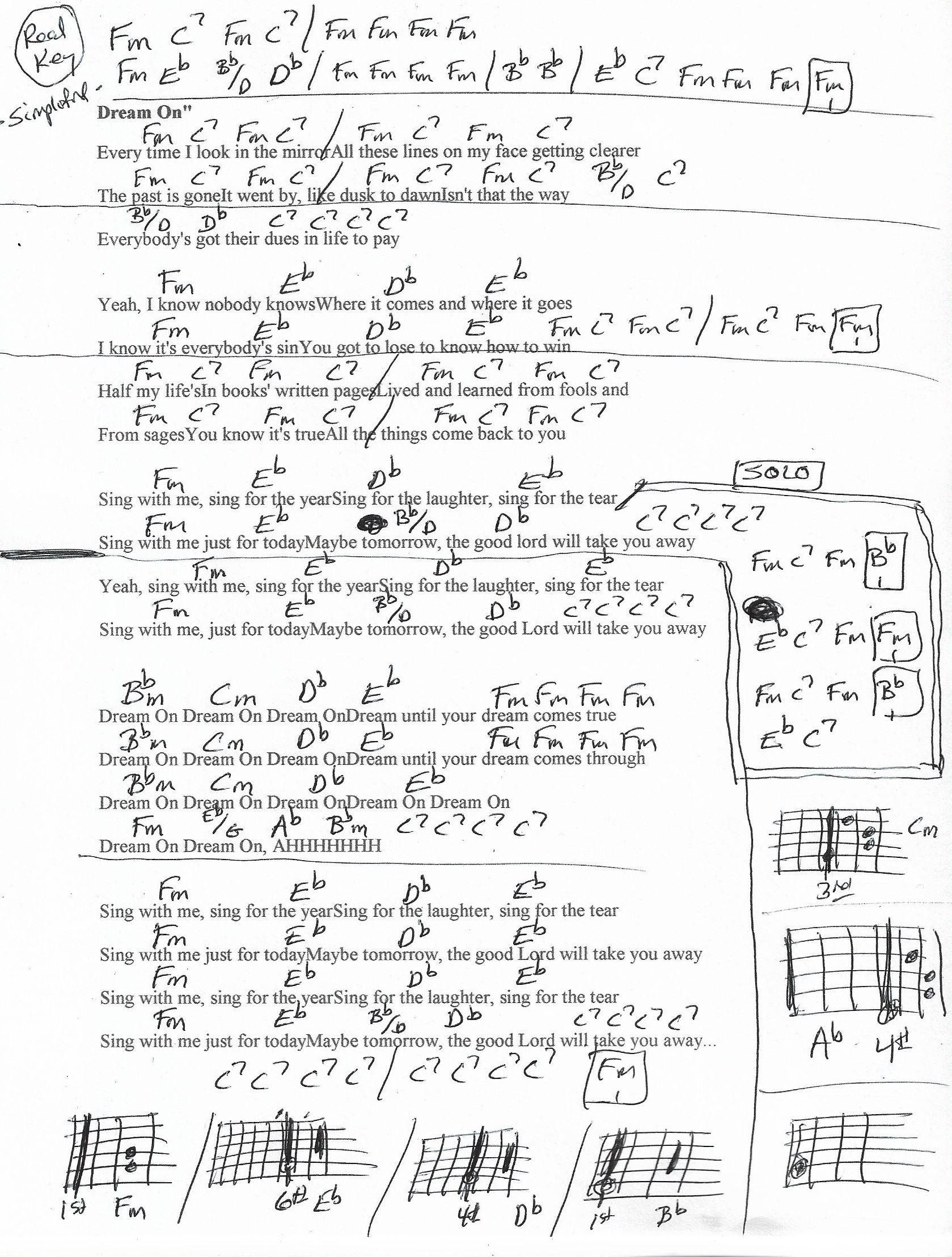 Dream On Aerosmith Guitar Chord Chart in Fm   REAL KEY ...
