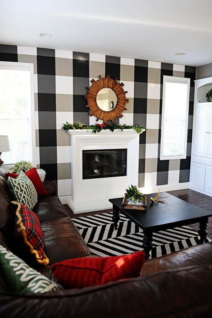 You  ll never believe how easy it is to diy this buffalo check christmas plaid wall with paper transform your room simple decor also holiday home tour mad for create  rh pinterest
