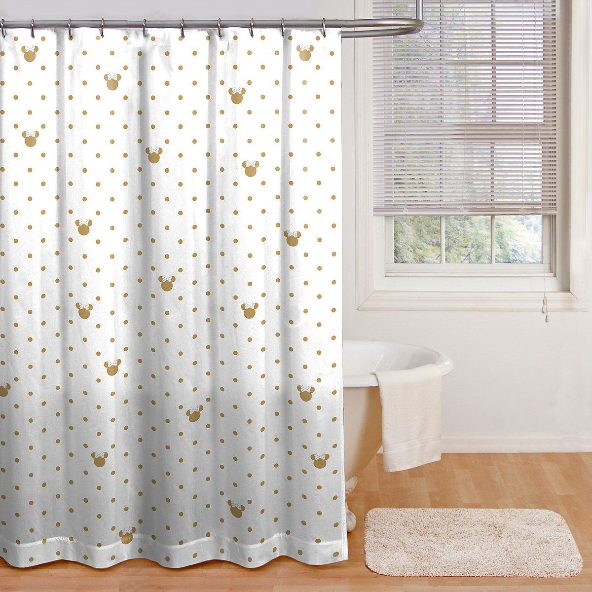 Minnie Mouse Gold Dots Shower Curtain Girls Bathroom Disney Shower Curtain Curtains