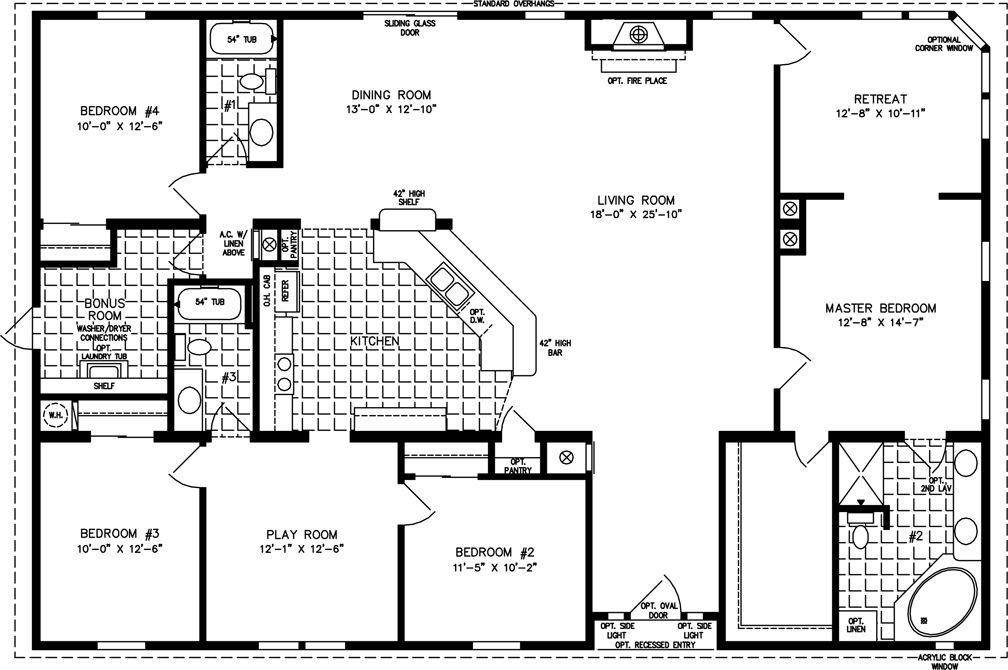 Simple square house plans the tnr 7604 manufactured for 3 bedroom floor plans with bonus room