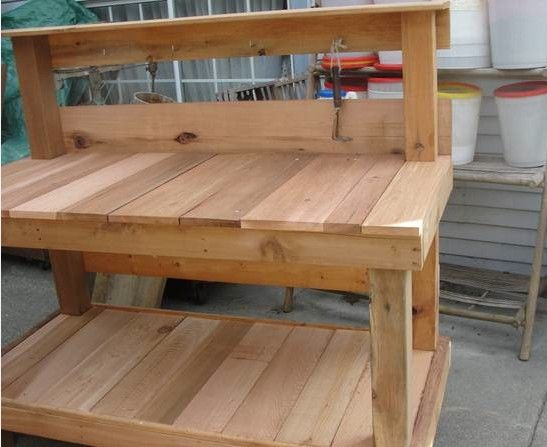 Surprising Homemade Cedar Potting Bench Out Door Work Bench Solid Ncnpc Chair Design For Home Ncnpcorg