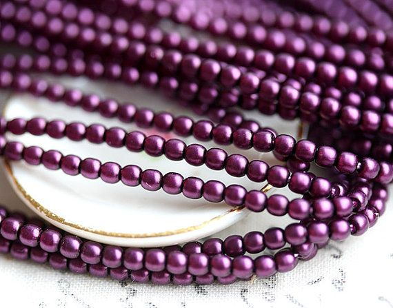 Faux pearls czech beads Full Strand  Satin Purple by MayaHoney