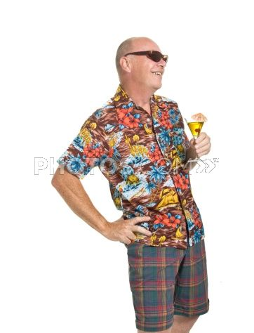 4b328d46 Royalty-Free Images: Expressive Old Man In Vintage 1950's Hawaiian Loud