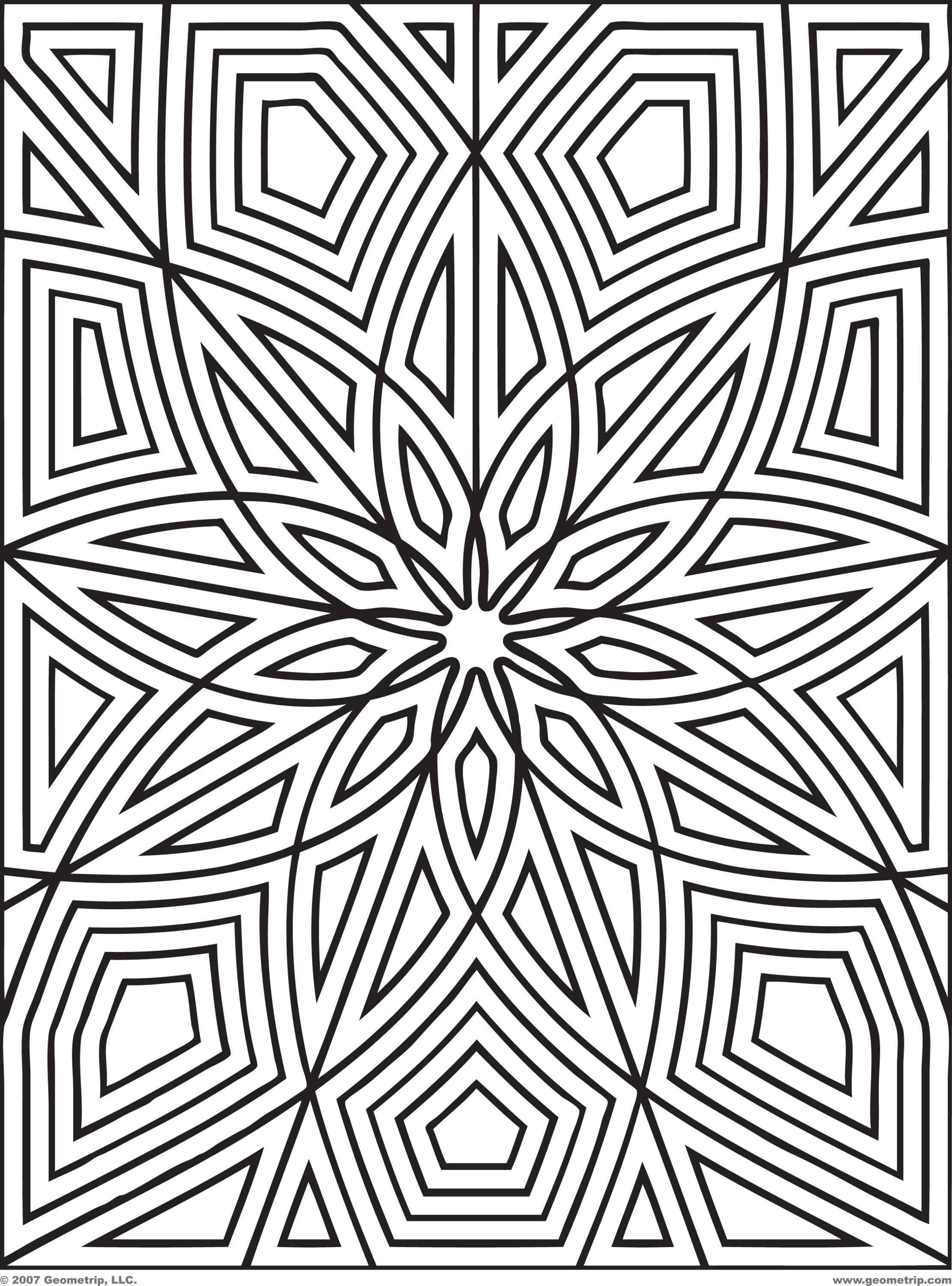 Difficult Geometric Design Coloring Pages | Rectangles: Page 2 of 2 ...