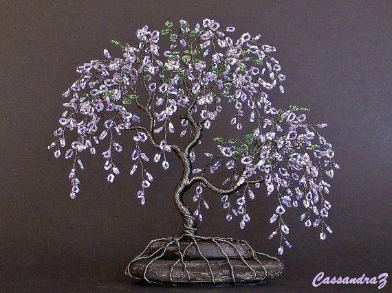 wisteria beaded bonsai wire tree sculpture made to by cassandraz rh pinterest com Crape Myrtle Bonsai Miniature Bonsai