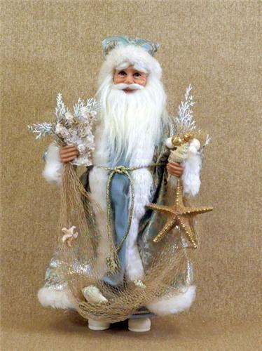 Blue sea shell santa claus figurine karen didion