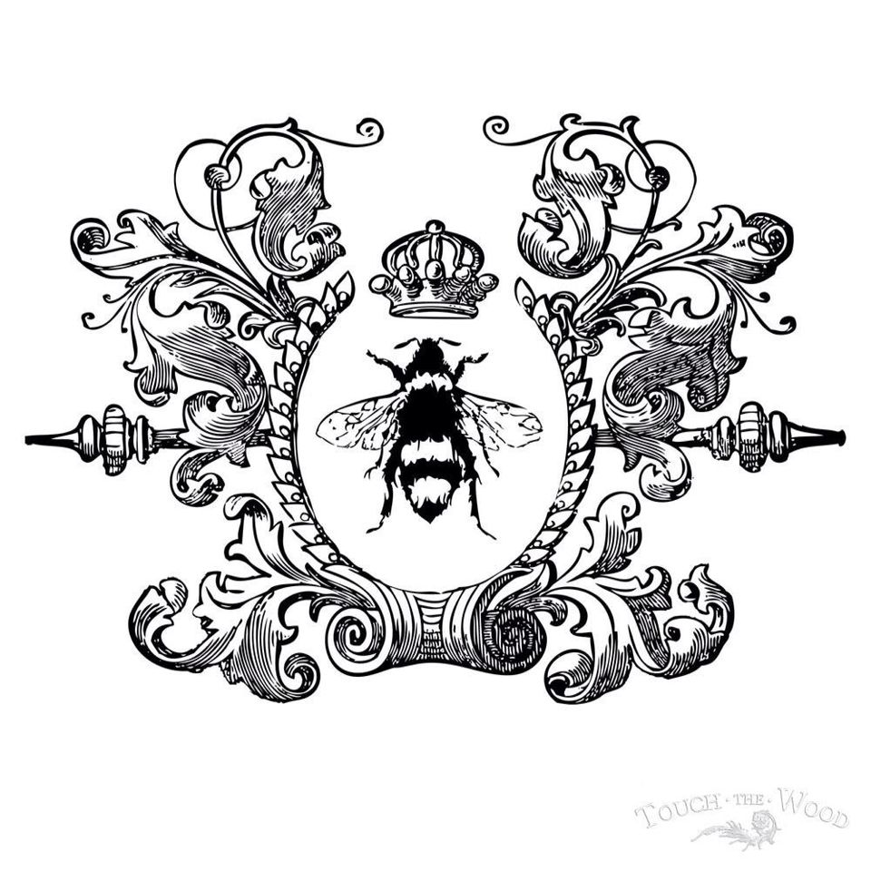 Furniture Decal Image Transfer Vintage Antique French Typography Bee HIve Honey