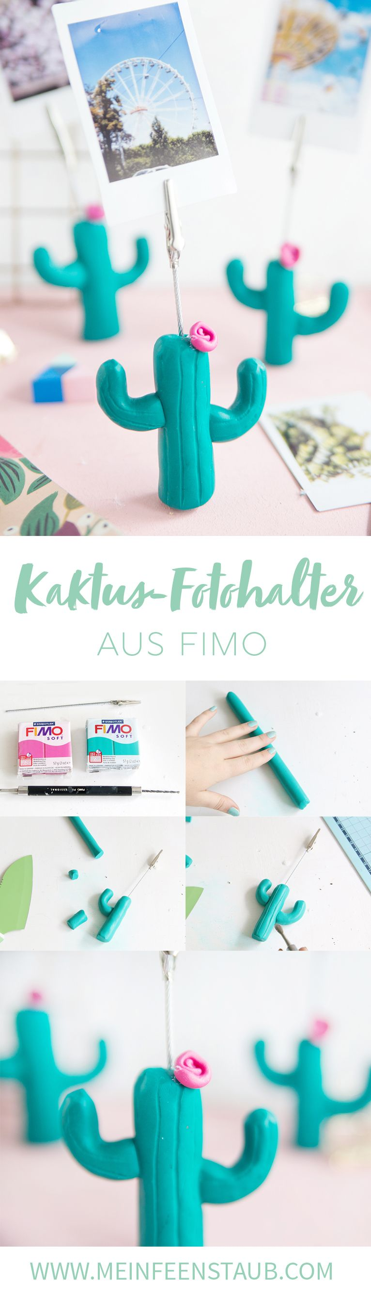 diy kaktus fotohalter aus fimo polymer clay miniature pinterest basteln geschenke und. Black Bedroom Furniture Sets. Home Design Ideas