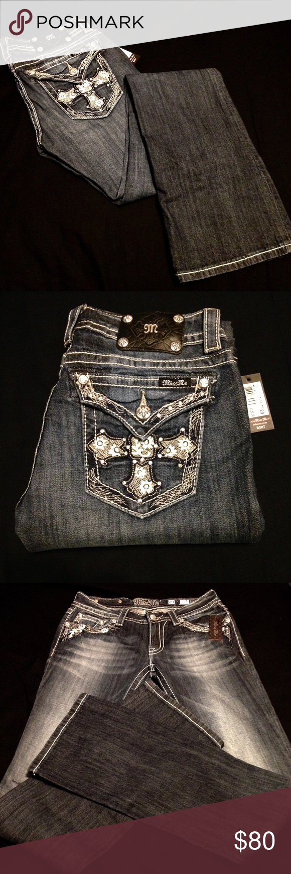 "Miss Me Bootcut Jeans NWT: Brand new with tag! Medium wash and stretchy. Size 29. Measures 15"" across, rise 7.5"", inseam 35"". Too tight for me and don't want them. No trades or lowball offers please. Reasonable offers may be accepted. Miss Me Jeans Boot Cut"